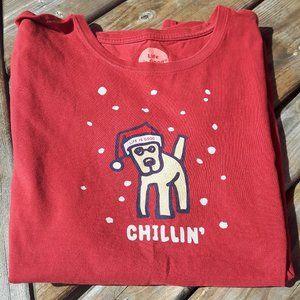 Life is Good t-shirt Dog t-shirt Chillin' Snow